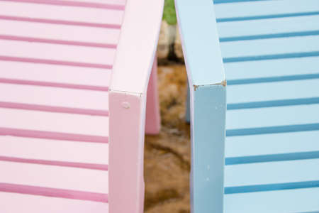 twain: Pink and blue chairs Stock Photo