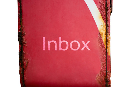 Inbox words on red post box have the rust on white background