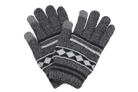 Grey woolen knitted gloves isolated on white background