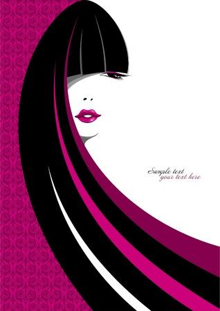 Elegante retrato de una chica con pelo largo  Ilustración de vector
