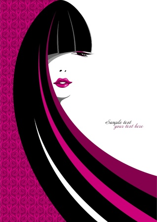 beauty salon face: Stylish portrait of a girl with long hair  Illustration