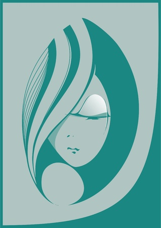 abstract portrait: Abstract portrait of a beautiful girl green tones  Illustration