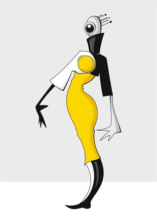 The girl-alien in brightly yellow dress Stock Vector - 10226745