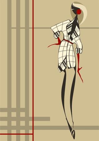 poncho: Mujer de moda joven que se viste con un vestido a cuadros