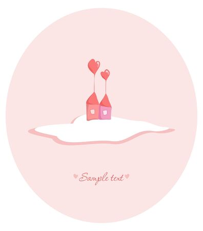 love cloud: Stock Vector Illustration: Two lovely houses with roofs in the shape of a heart Illustration