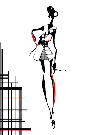 accents: La chica de moda africana que est� elegantemente vestido Vectores