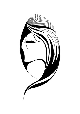 long eyelashes: Portrait of a mysterious girl with long hair  Illustration