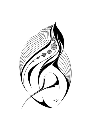 sea nymph: Abstract portrait of a mysterious girl with beautiful hair  Illustration