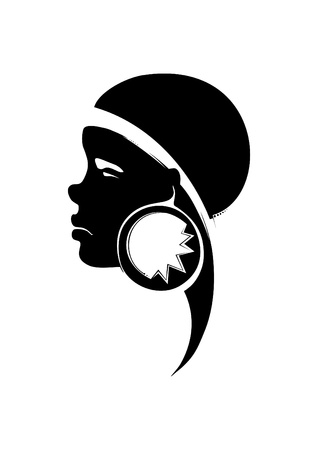 Painted a portrait of a young African woman, with decoration in the ear  Vector