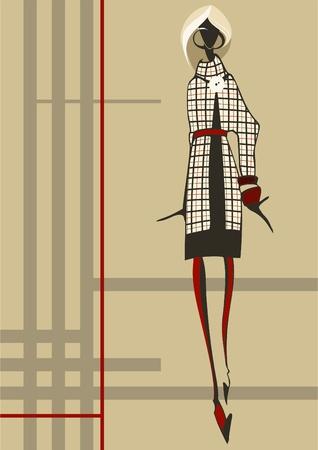 Modische junge Frau, die in einem karierten Kleid gekleidet ist Vektorgrafik