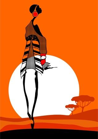 girl shadow: The fashionable African girl who is stylishly dressed