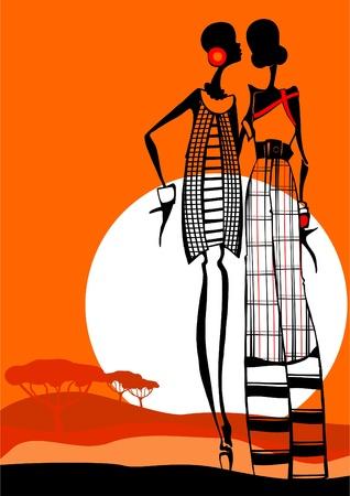 tribu: La chica de moda africana que está vestido a la moda Vectores