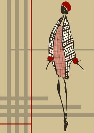 poncho: Moda joven que est� vestida con un vestido cuadritos