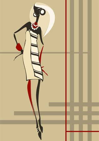 Fashionable young woman who is dressed in a plaid dress  Vector