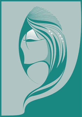 body grooming: Abstract portrait of a beautiful girl green tones  Illustration