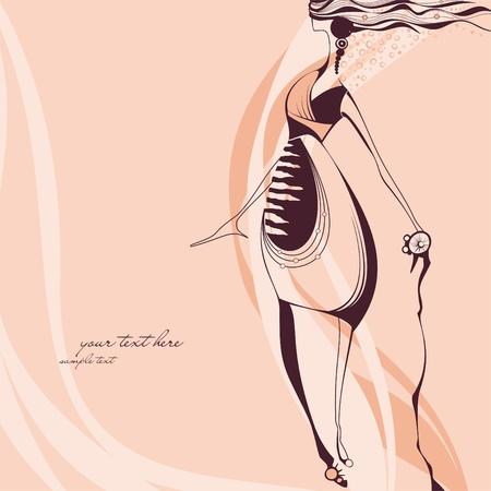 fashion portrait: Creative hand painted fashion illustration  Illustration