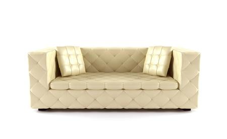 Luksusowy beżowy sofa samodzielnie na białym tle Zdjęcie Seryjne