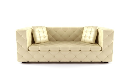 Luxurious beige sofa isolated on white background Stock Photo
