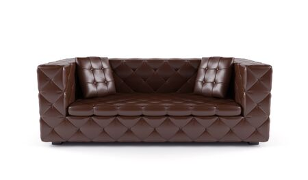 Luxurious brown sofa white leather isolated on white background photo