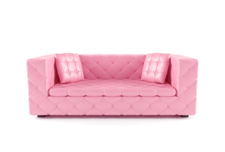 Luxurious pink sofa isolated on white background