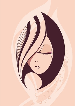 Abstract beautiful hand-drawn woman with beautiful long hair  Stock Vector - 10463592