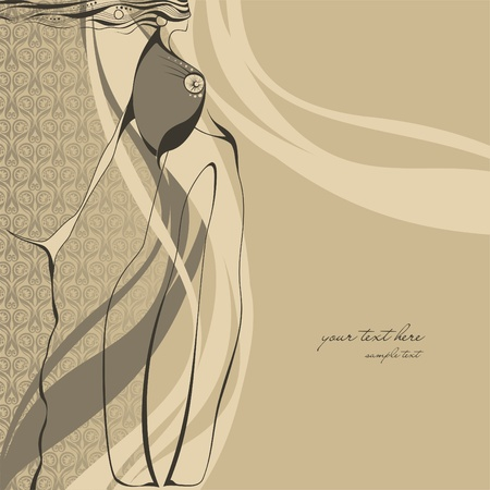 Fashion illustration girl  Vector