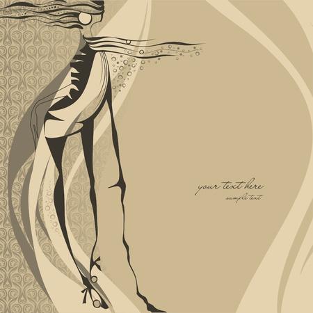 Fashion illustration girl  Vector