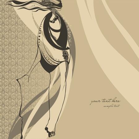 glamour model: Fashion illustration girl