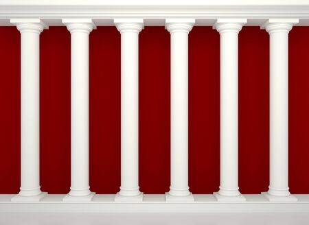 show bill:   Series of classical columns on the background of the red wall