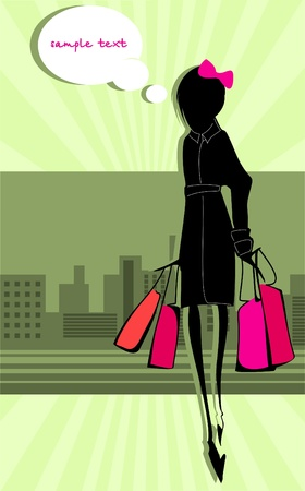 Slim girl returned with their purchases. Dreams.  Illustration