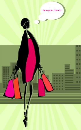 splashy: Slim girl returned with their purchases. Dreams.  Illustration