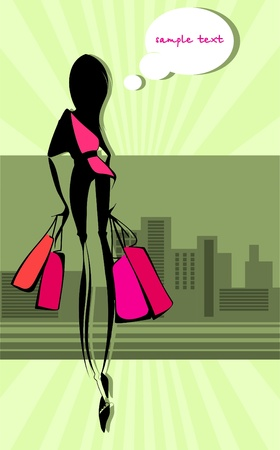 returned: Slim girl returned with their purchases. Dreams.  Illustration