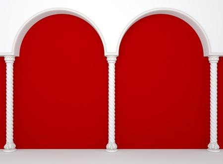 show bill: La pared de lujo roja con elegantes columnas y arcos