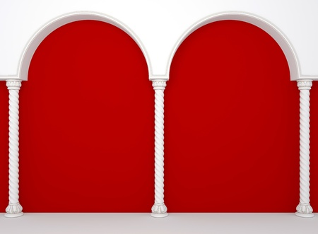 show bill: Luxurious red wall with graceful columns and arches  Stock Photo