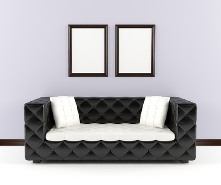 backrest:  Black leather sofa with pillows in the interior