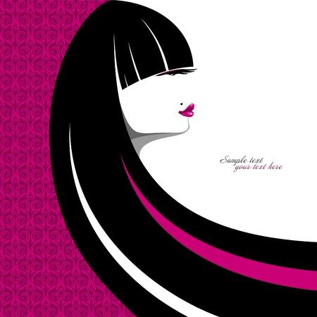 long hair woman: Elegante retrato de una chica con pelo largo
