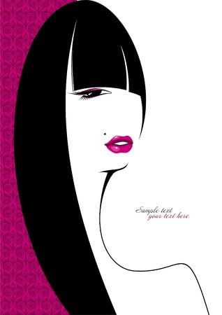 irresistible: Stylish portrait of a girl with long hair  Illustration
