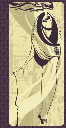 sensual: Hand-drawn fashion model. Vector illustration.  Illustration