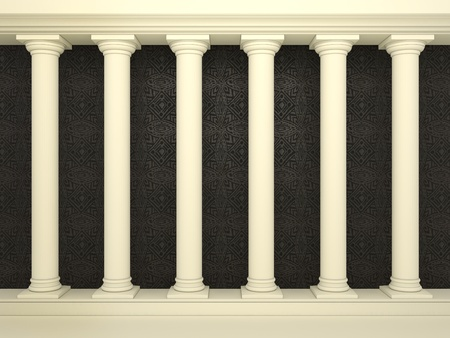 Series of classical columns on the background of the black wall with patterns  photo