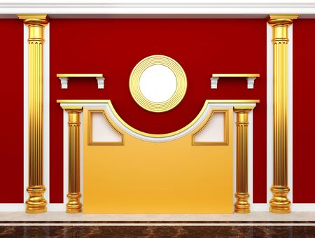 respectful: Red Wall with classical columns of gold and stucco  Stock Photo