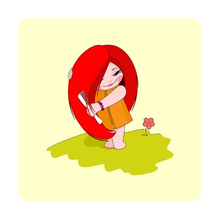 hairbrush: A little pretty girl with long red hair. A girl combs her hair.  Illustration