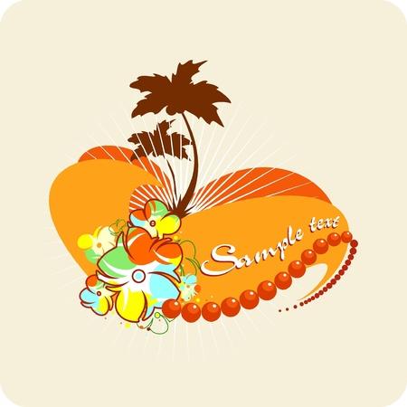 Tropical background. Vector palms, flowers, heart, sun.  Illustration