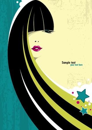 fashion sketch: A beautiful girl with long black hair and bright make-up on grunge background. Place for your text. Vector illustration.