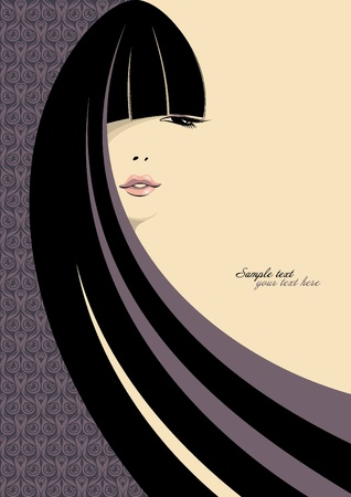 female face closeup: portrait of gorgeous girl with long black hair. Place for your text. Vector illustration.
