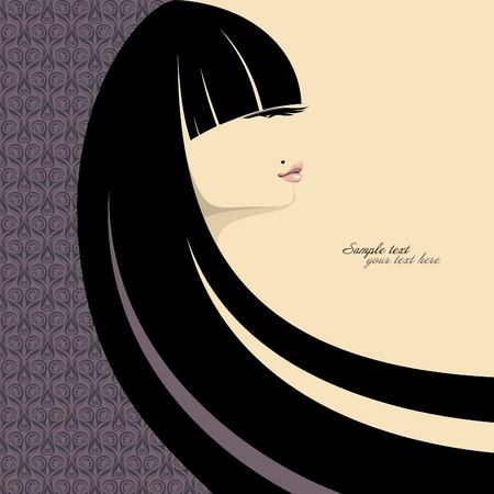 glam: portrait of gorgeous girl with long black hair. Place for your text. Vector illustration.
