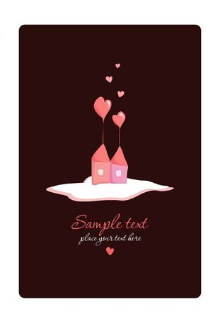 pink smoke: Heart House - Vector. Place for your text.