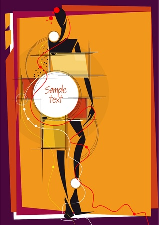 Abstract design with girl. Place for your text. Vector illustration.  Vector