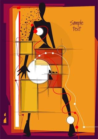 cubismo: Resumen de dise�o con la chica. Lugar para el texto. Ilustraci�n vectorial.