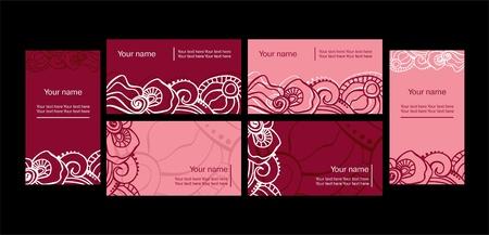 florist: set of templates for business cards. Elements for design  Illustration