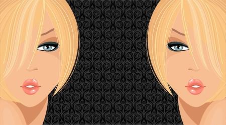 Fashion illustration with blonde girls  Illustration